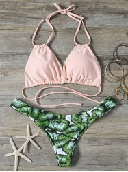 Low Cut String Tropical Bikini Set