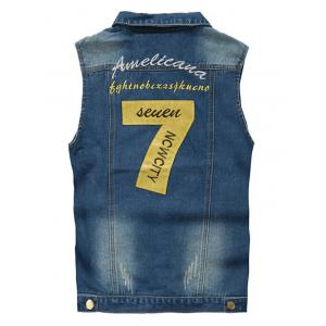 Embroidered Scratched Chest Pocket Denim Waistcoat -