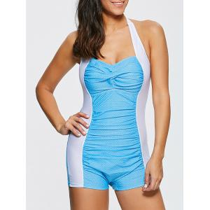 Halter Polka Dot Boyleg One Piece Swimsuit