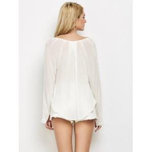 Long Sleeve High Low Surplice T-Shirt -