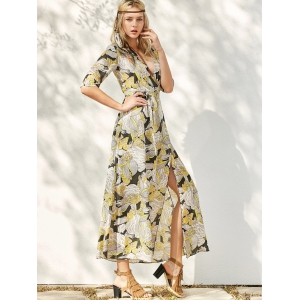 Floral Patterned Long Swing Wrap Beach Boho Dress - YELLOW L