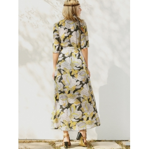 Floral Patterned Long Swing Wrap Beach Boho Dress - YELLOW M