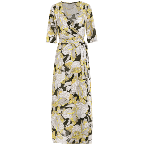 Floral Patterned Long Swing Wrap Beach Boho Dress - YELLOW S