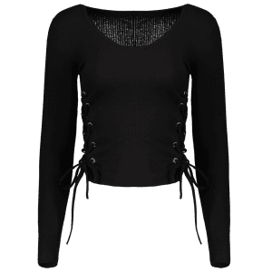V Neck Ribbed Jumper - BLACK M