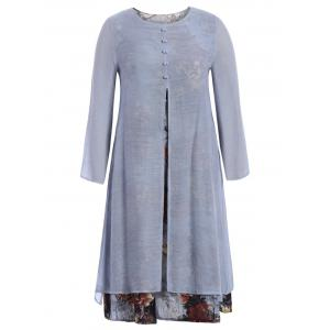 Long Sleeve Printed Slit Midi Flowy Dress - Light Gray - L