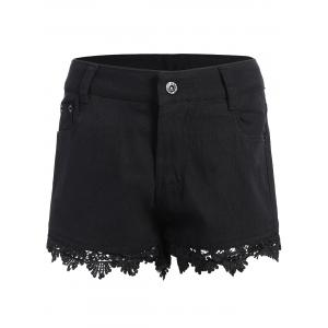 Lace Trim Denim Shorts - Black - S