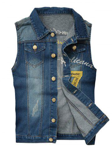 Embroidered Scratched Chest Pocket Denim Waistcoat - Blue - L