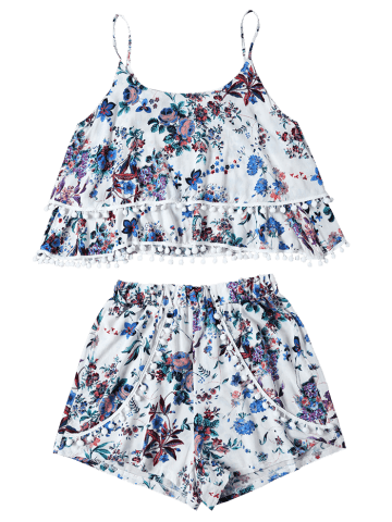 Latest Trendy Floral Print Layered Cami Top and Shorts Women's Twinset - S BLUE Mobile