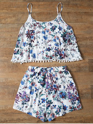 Chic Trendy Floral Print Layered Cami Top and Shorts Women's Twinset - S BLUE Mobile