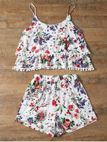 Online Trendy Floral Print Layered Cami Top and Shorts Women's Twinset RED L