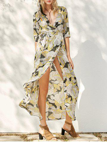 Discount Floral Patterned Long Swing Wrap Beach Boho Dress YELLOW L