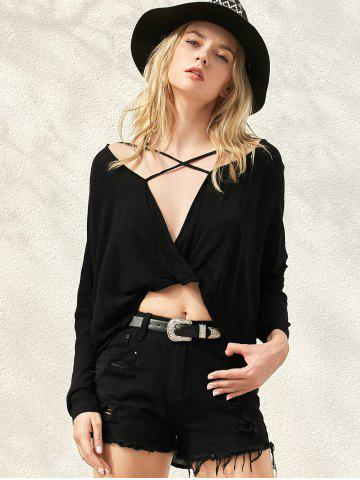 Discount Long Sleeve High Low Surplice T-Shirt