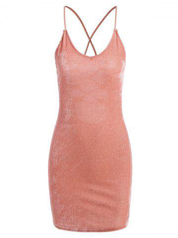 Lace Up Open Back Bodycon Dress - ORANGEPINK S