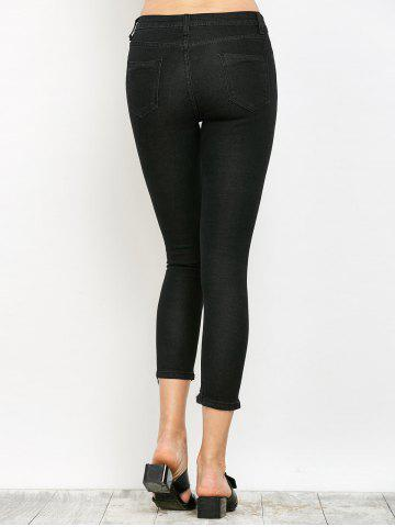 Shops Slimming Ripped Narrow Feet Jeans - XL BLACK Mobile
