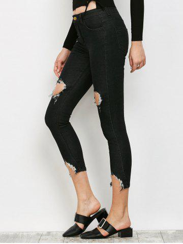 Fancy Slimming Ripped Narrow Feet Jeans - XL BLACK Mobile