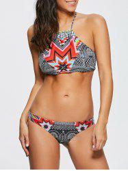 Halter High Neck Geometrical Print Boho Bikini Set