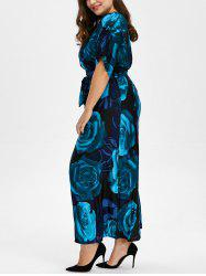 Bohemian Floral Print Plus Size Maxi Formal Dress - DEEP BLUE