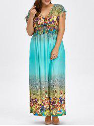 Floral Print Bohemian Plus Size Hawaiian Maxi Dress