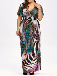 Peacock Feather Backless Plus Size Long Maxi Dress