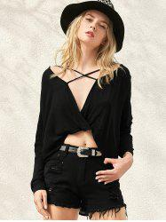 Long Sleeve High Low Surplice T-Shirt