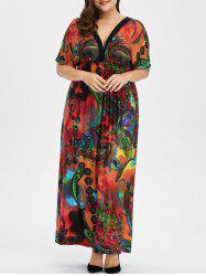 Bohemian Print Plus Size Maxi Dress -