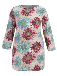 Flower Print Mini Long Sleeve Dress