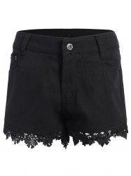 Lace Trim Denim Shorts - BLACK