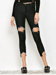 Slimming Ripped Narrow Feet Jeans - BLACK