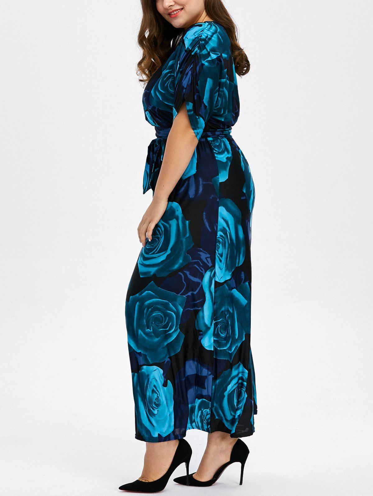 Bohemian Floral Print Plus Size Long Maxi Formal DressWOMEN<br><br>Size: 4XL; Color: DEEP BLUE; Style: Bohemian; Material: Polyester; Silhouette: A-Line; Dresses Length: Ankle-Length; Neckline: V-Neck; Sleeve Length: Short Sleeves; Pattern Type: Floral; With Belt: No; Season: Fall,Spring; Weight: 0.5000kg; Package Contents: 1 x Dress;