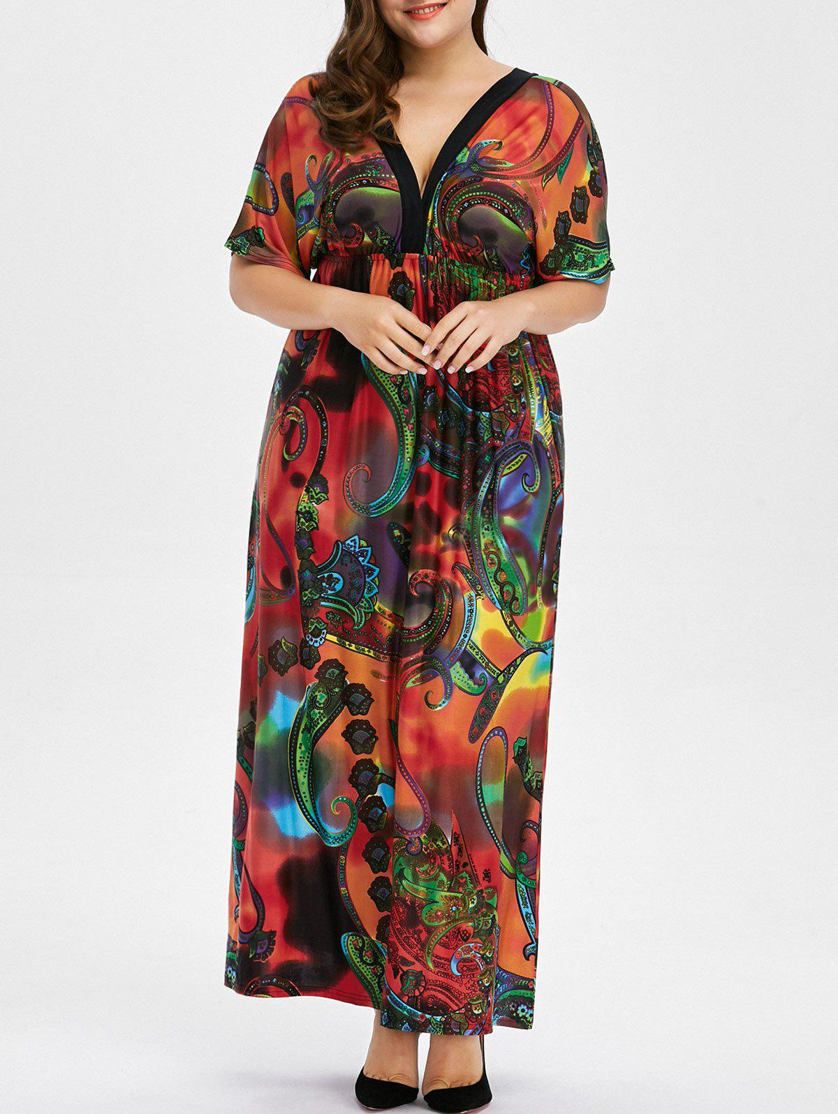 Sale Bohemian Print Plus Size Maxi Dress