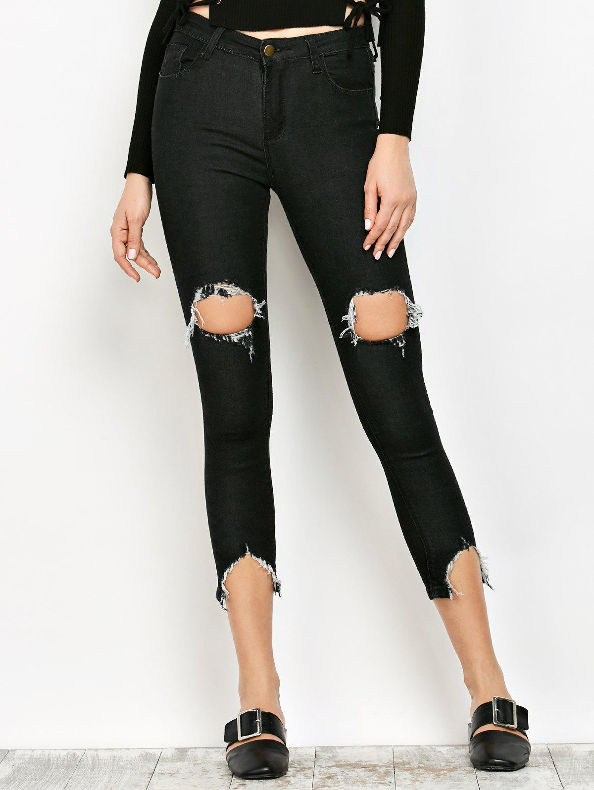 Shops Slimming Ripped Narrow Feet Jeans