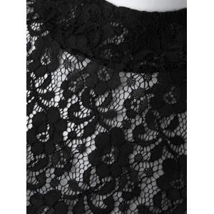 Sexy Turtle Neck Short Sleeve Lace See-Through Blouse + Solid Color Skirt Women's Twinset - BLACK/GREEN S