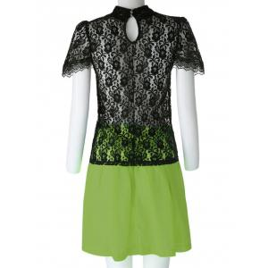 Sexy Turtle Neck Short Sleeve Lace See-Through Blouse + Solid Color Skirt Women's Twinset - BLACK/GREEN XL