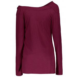 Vogue Cowl Neck Long Sleeve Button Embellished Blouse For Women - PURPLISH RED L