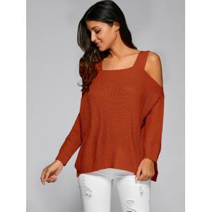 Cold Shoulder Asymmetric Sweater with Slit - JACINTH ONE SIZE