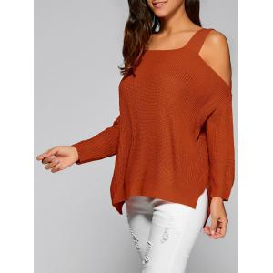 Cold Shoulder Asymmetric Sweater with Slit -