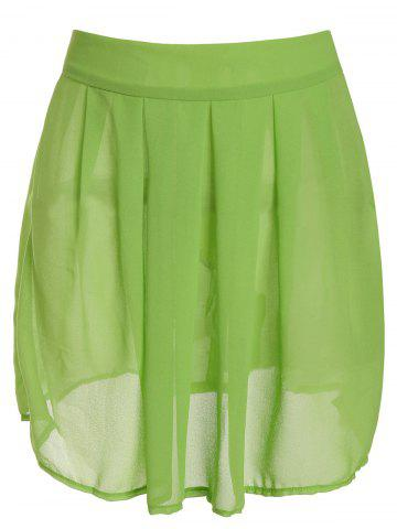 Unique Sexy Turtle Neck Short Sleeve Lace See-Through Blouse + Solid Color Skirt Women's Twinset - S BLACK AND GREEN Mobile