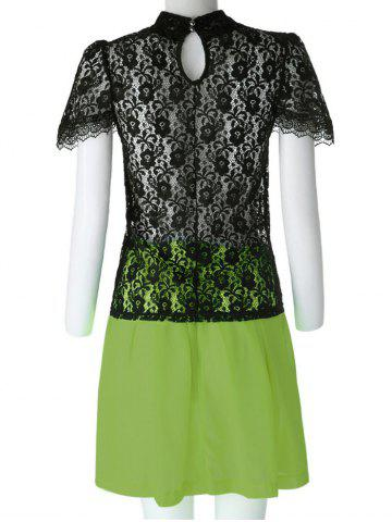 Unique Sexy Turtle Neck Short Sleeve Lace See-Through Blouse + Solid Color Skirt Women's Twinset - L BLACK AND GREEN Mobile