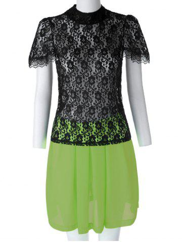 Unique Sexy Turtle Neck Short Sleeve Lace See-Through Blouse + Solid Color Skirt Women's Twinset BLACK AND GREEN XL