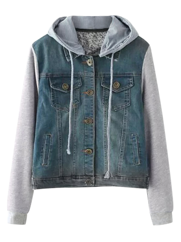 Unique String Buttoned Denim Spliced Jacket with Hood BLUE L