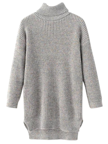 Shop Long Turtleneck Heathered Sweater