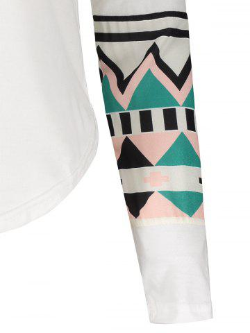 Sale Color Block Geometry Pocket T-Shirt - S OFF-WHITE Mobile