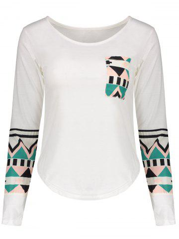 Trendy Color Block Geometry Pocket T-Shirt - M OFF-WHITE Mobile
