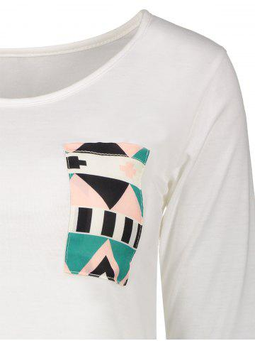 Discount Color Block Geometry Pocket T-Shirt - XL OFF-WHITE Mobile