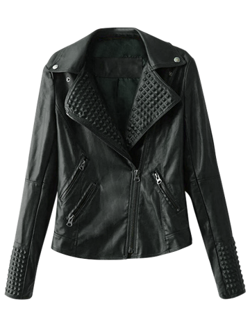 Latest Lapel Collar Zippered Biker Jacket BLACK L