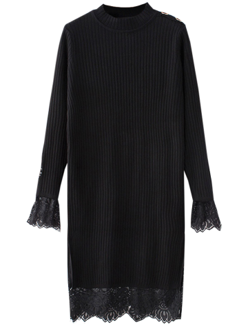 Trendy High Neck Cut Out Lace Panel Knitting Jumper Dress