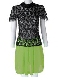 Sexy Turtle Neck Short Sleeve Lace See-Through Blouse + Solid Color Skirt Women's Twinset - BLACK AND GREEN