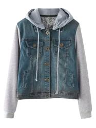 String Buttoned Denim Spliced Jacket with Hood