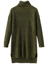 Long Turtleneck Heathered Sweater - ARMY GREEN