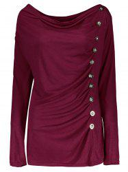 Vogue Cowl Neck Long Sleeve Button Embellished Blouse For Women - PURPLISH RED